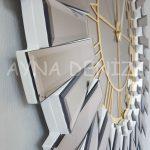 Güneş White Golden Model Altın Bronz Renk Dekoratif Aynalı Duvar Saati-19