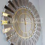 Güneş White Golden Model Altın Bronz Renk Dekoratif Aynalı Duvar Saati-2