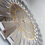 Güneş White Golden Model Altın Bronz Renk Dekoratif Aynalı Duvar Saati-20