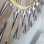 Güneş White Golden Model Altın Bronz Renk Dekoratif Aynalı Duvar Saati-21