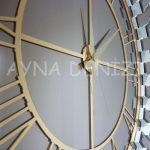 Güneş White Golden Model Altın Bronz Renk Dekoratif Aynalı Duvar Saati-22