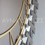 Güneş White Golden Model Altın Bronz Renk Dekoratif Aynalı Duvar Saati-23
