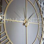 Güneş White Golden Model Altın Bronz Renk Dekoratif Aynalı Duvar Saati-24