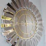 Güneş White Golden Model Altın Bronz Renk Dekoratif Aynalı Duvar Saati-3