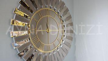 Güneş White Golden Model Altın Bronz Renk Aynalı Duvar Saati