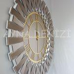 Güneş White Golden Model Altın Bronz Renk Dekoratif Aynalı Duvar Saati-4