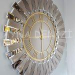 Güneş White Golden Model Altın Bronz Renk Dekoratif Aynalı Duvar Saati-5