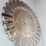 Güneş White Golden Model Altın Bronz Renk Dekoratif Aynalı Duvar Saati-9