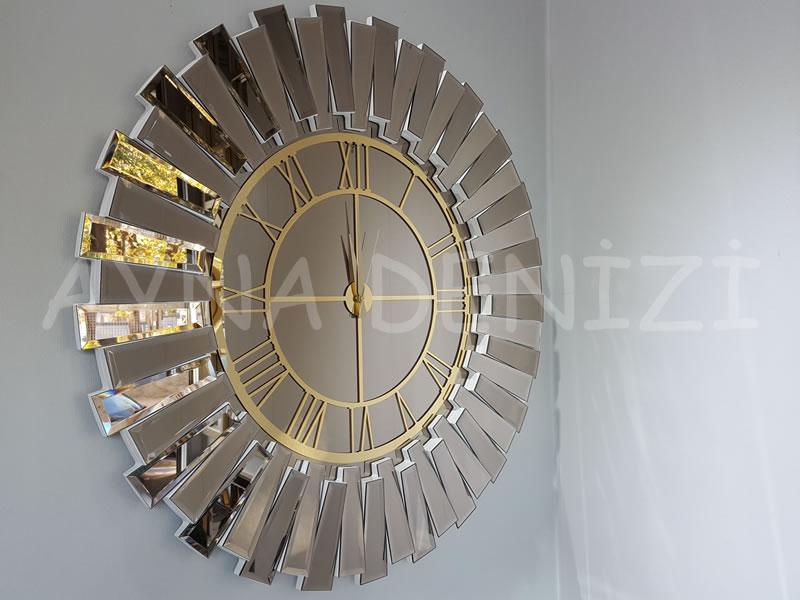 Güneş White Golden Model Altın Bronz Renk Dekoratif Aynalı Duvar Saati