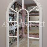 Lecce Model Beyaz Renk Dekoratif Pencere Ayna-13