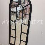 Lecce Model Siyah Renk Dekoratif Pencere Ayna-8