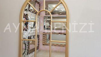 Modena Model Altın Renk Dekoratif Pencere Ayna