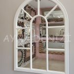 Modena Model Beyaz Renk Dekoratif Pencere Ayna-16