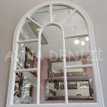 Modena Model Beyaz Renk Dekoratif Pencere Ayna-2
