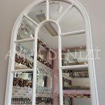 Modena Model Beyaz Renk Dekoratif Pencere Ayna-5