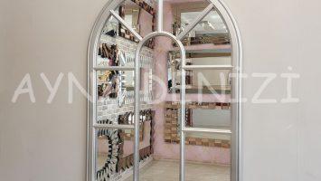 Modena Model Gümüş Renk Dekoratif Pencere Ayna