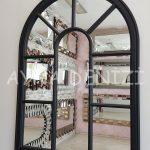 Modena Model Siyah Renk Dekoratif Pencere Ayna-3