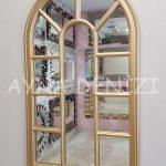 Padova Model Altın Renk Dekoratif Pencere Ayna-3