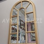 Padova Model Altın Renk Dekoratif Pencere Ayna-5