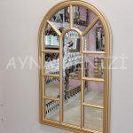 Padova Model Altın Renk Dekoratif Pencere Ayna-9