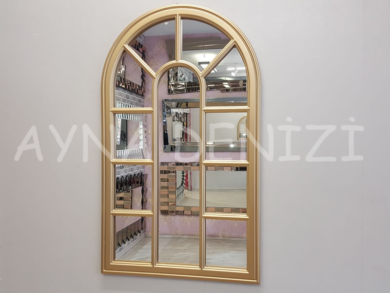 Padova Model Altın Renk Dekoratif Pencere Ayna