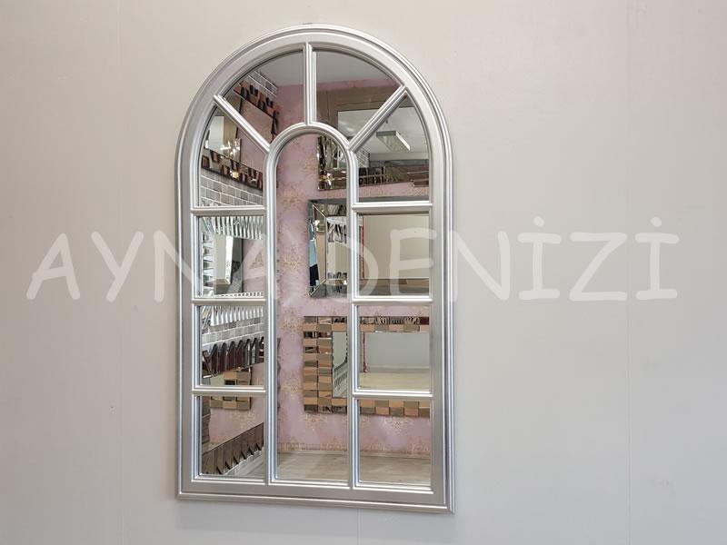 Padova Model Gümüş Renk Dekoratif Pencere Ayna