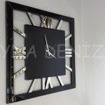Square Silver Black Model Gümüş Siyah Renk Dekoratif Aynalı Duvar Saati-1