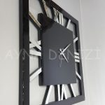 Square Silver Black Model Gümüş Siyah Renk Dekoratif Aynalı Duvar Saati-12