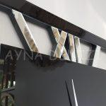 Square Silver Black Model Gümüş Siyah Renk Dekoratif Aynalı Duvar Saati-15