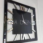 Square Silver Black Model Gümüş Siyah Renk Dekoratif Aynalı Duvar Saati-2