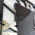 Square Silver Black Model Gümüş Siyah Renk Dekoratif Aynalı Duvar Saati-20