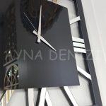 Square Silver Black Model Gümüş Siyah Renk Dekoratif Aynalı Duvar Saati-21