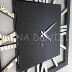 Square Silver Black Model Gümüş Siyah Renk Dekoratif Aynalı Duvar Saati-24
