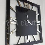 Square Silver Black Model Gümüş Siyah Renk Dekoratif Aynalı Duvar Saati-3