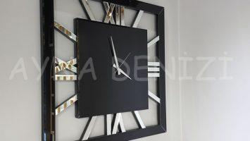 Square Silver Black Model Gümüş Siyah Renk Dekoratif Aynalı Duvar Saati