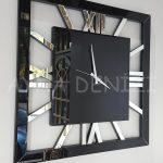Square Silver Black Model Gümüş Siyah Renk Dekoratif Aynalı Duvar Saati-4