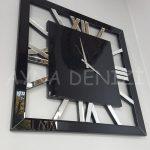 Square Silver Black Model Gümüş Siyah Renk Dekoratif Aynalı Duvar Saati-5