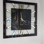Square Silver Black Model Gümüş Siyah Renk Dekoratif Aynalı Duvar Saati-7