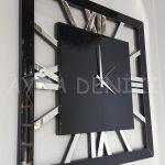 Square Silver Black Model Gümüş Siyah Renk Dekoratif Aynalı Duvar Saati-9