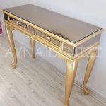 Vintage Golden Lükens Model Altın Renk Aynalı Dresuar Takımı-10