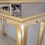 Vintage Golden Lükens Model Altın Renk Aynalı Dresuar Takımı-12