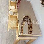 Vintage Golden Lükens Model Altın Renk Aynalı Dresuar Takımı-14