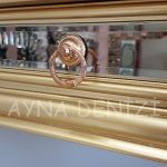 Vintage Golden Lükens Model Altın Renk Aynalı Dresuar Takımı-16