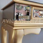 Vintage Golden Lükens Model Altın Renk Aynalı Dresuar Takımı-17