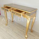 Vintage Golden Lükens Model Altın Renk Aynalı Dresuar Takımı-18