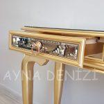 Vintage Golden Lükens Model Altın Renk Aynalı Dresuar Takımı-20