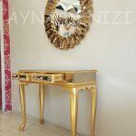 Vintage Golden Lükens Model Altın Renk Aynalı Dresuar Takımı-3