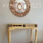 Vintage Golden Lükens Model Altın Renk Aynalı Dresuar Takımı-4