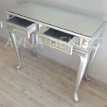 Vintage Silver Lükens Model Gümüş Renk Aynalı Dresuar Takımı-10