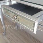 Vintage Silver Lükens Model Gümüş Renk Aynalı Dresuar Takımı-11